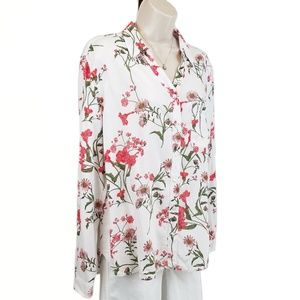 George button down top floral red white